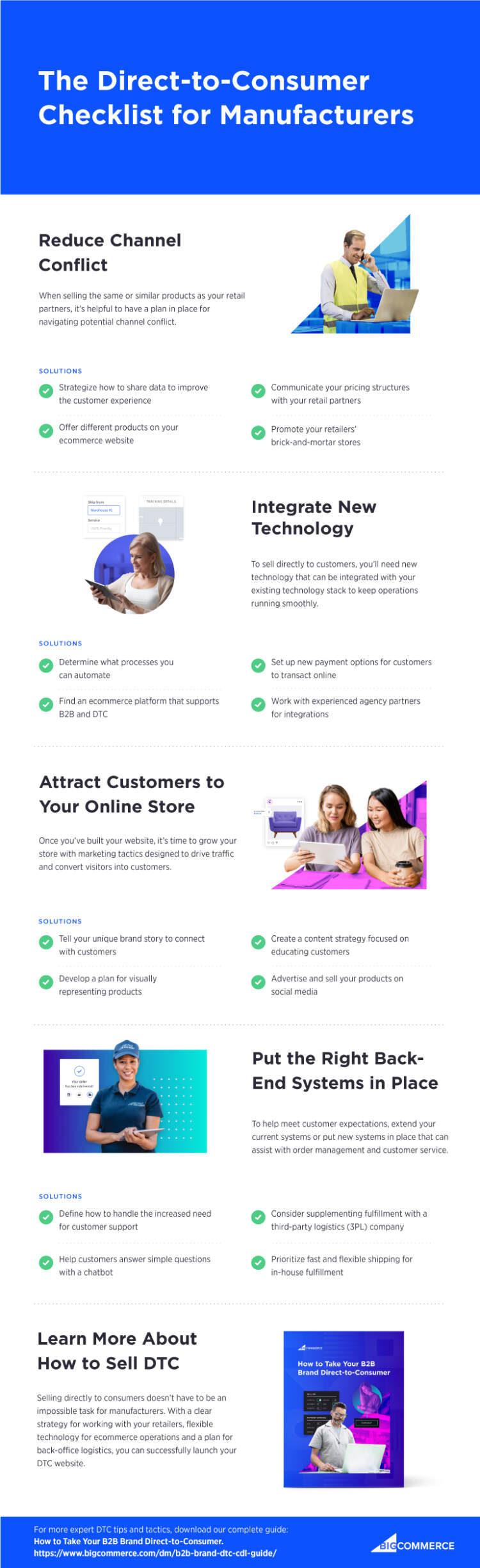 Direct-to-consumer checklist for manufacturers: reduce channel conflict, integrate new technology, attract customers to your online store, and put the right back-end systems in place.
