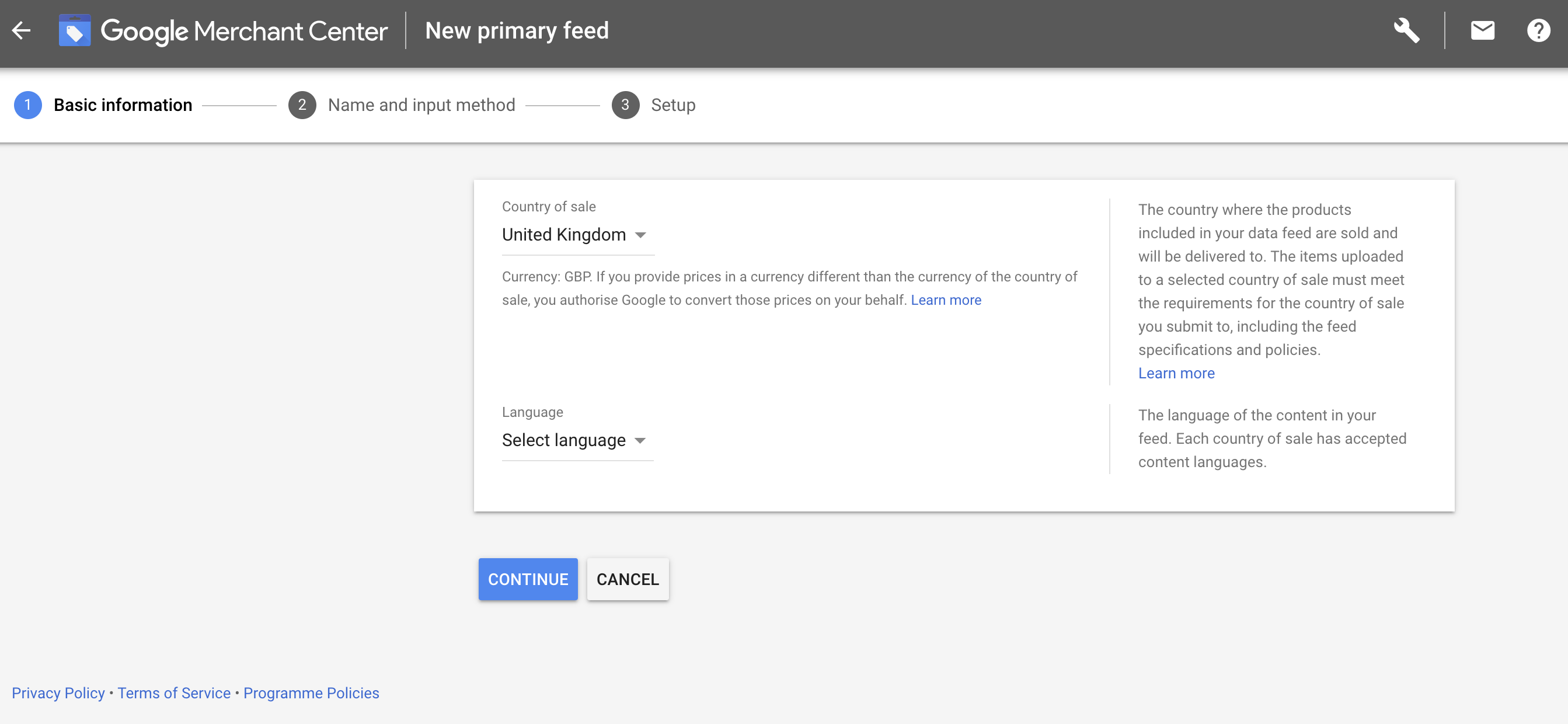 Google New primary feed