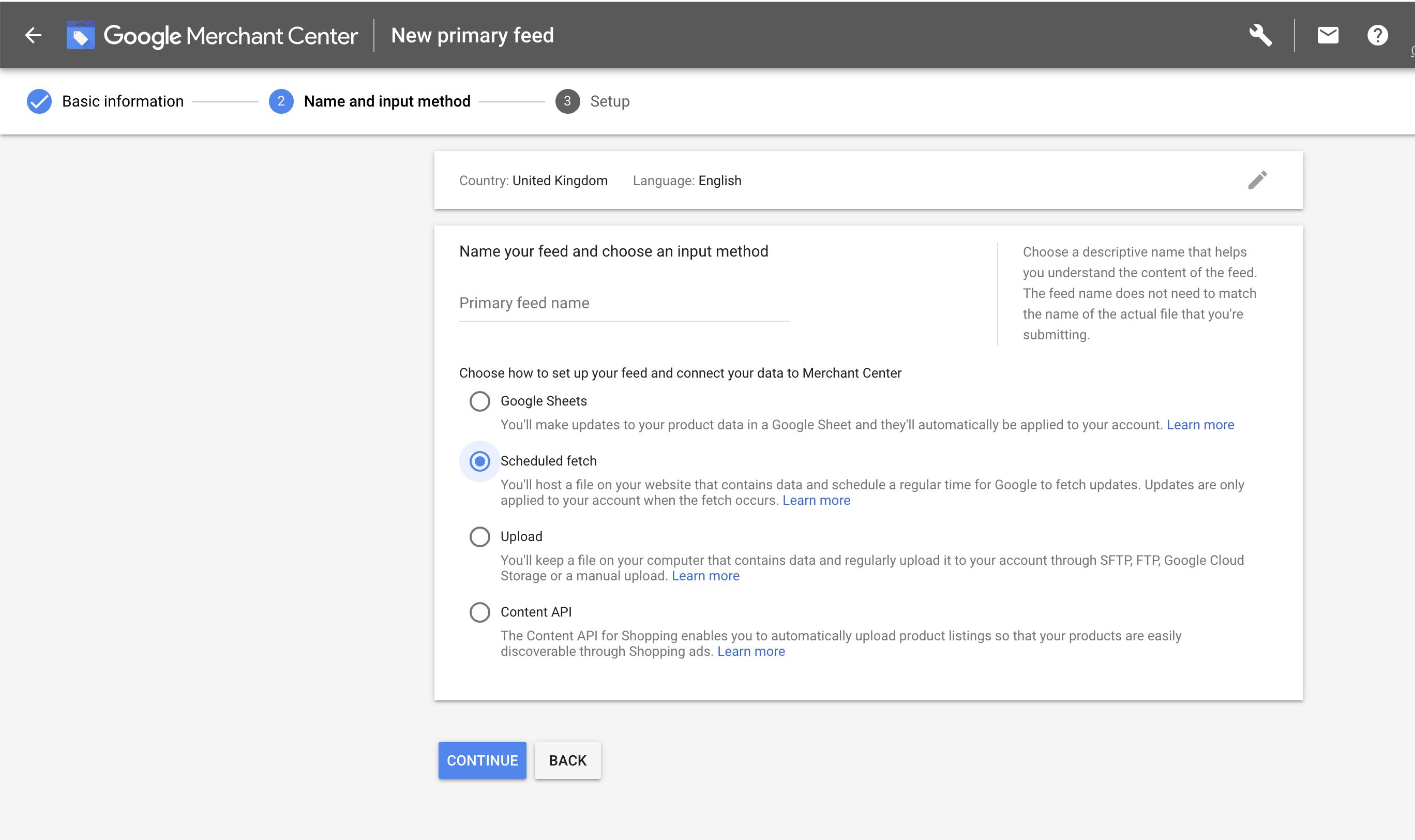 Google Feed Upload options