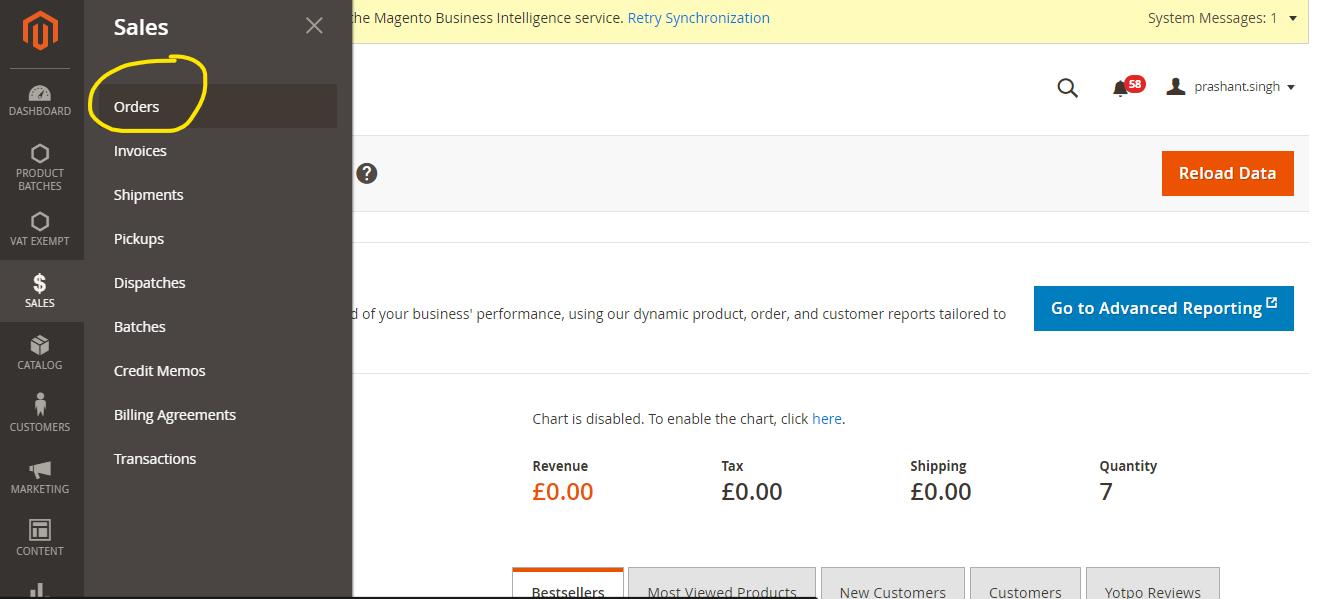 Magento 2 sales orders