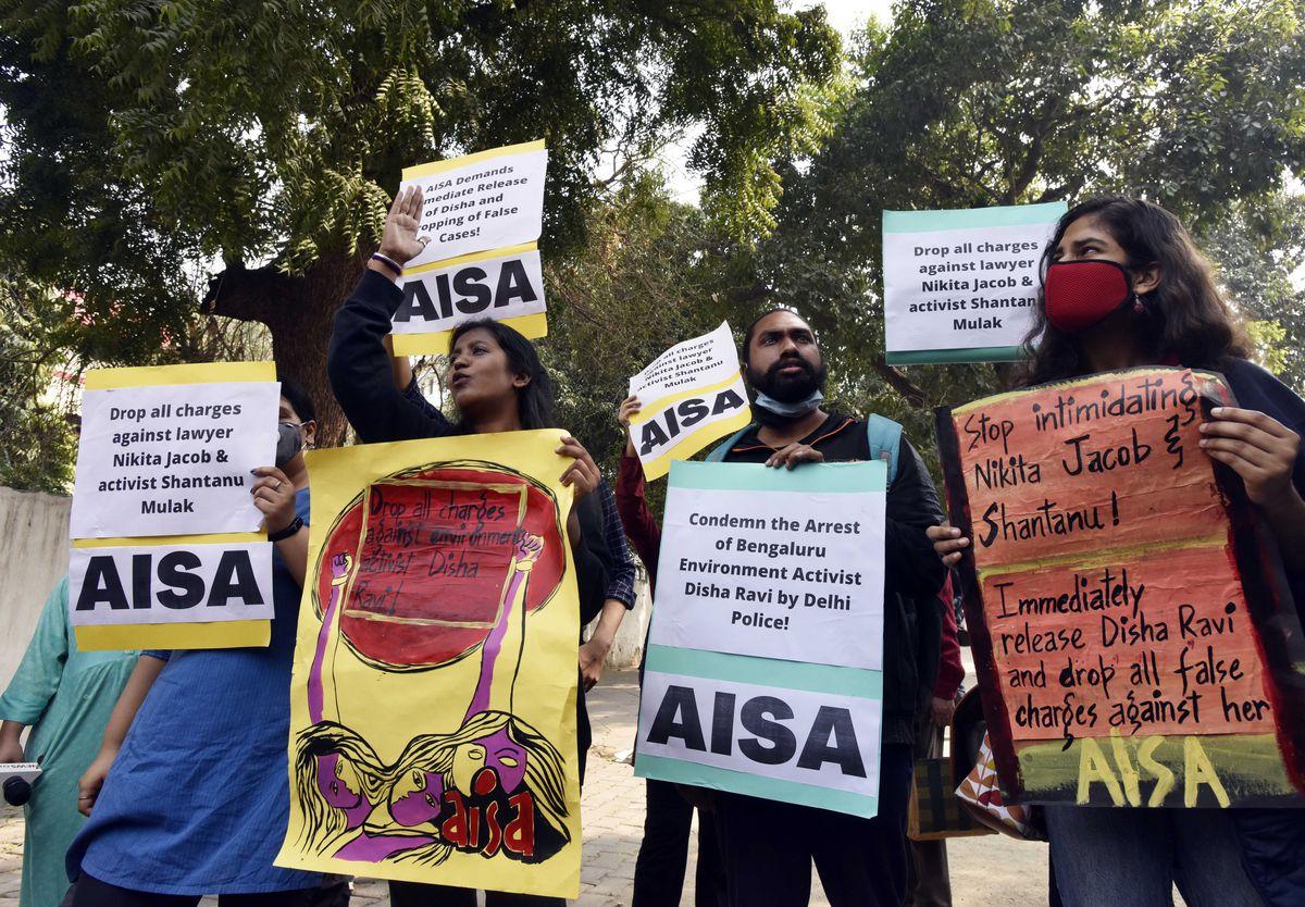 AISA Protests Against Disha Ravi Arrest
