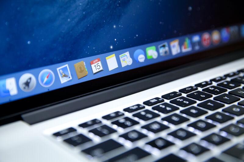 Close-up photograph of Mac keyboard and toolbar.