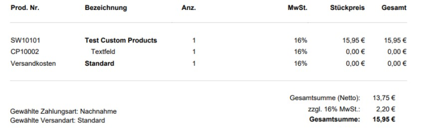 Shopware 6 custom products