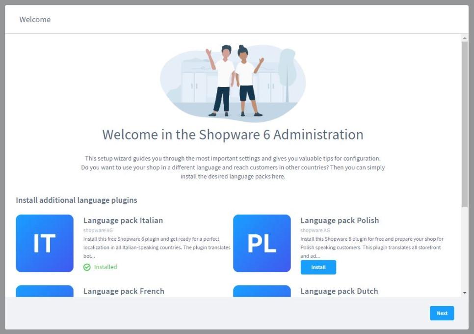 Shopware 6 first time run wizard language pack installation