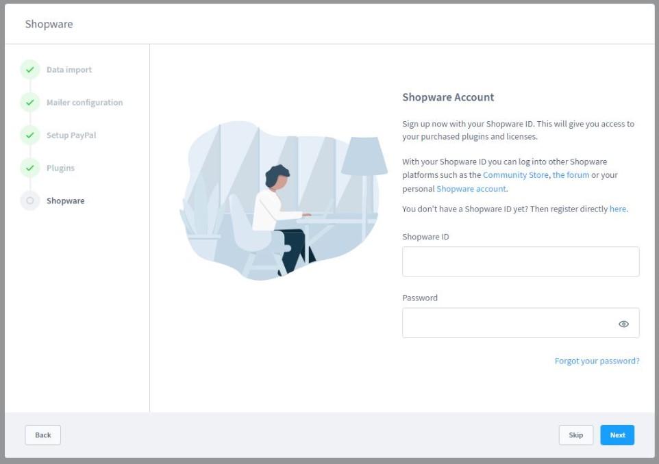 Shopware 6 first time run wizard create account