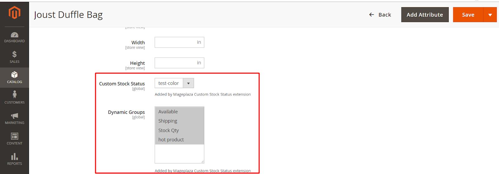 magento 2 custom stock status extension