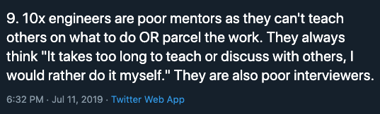 10x Engineers Are Poor Mentors and Interviewers