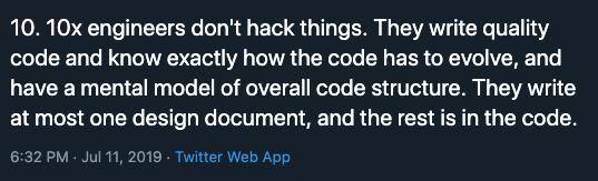 10x Engineers Write No Hack Quality Code