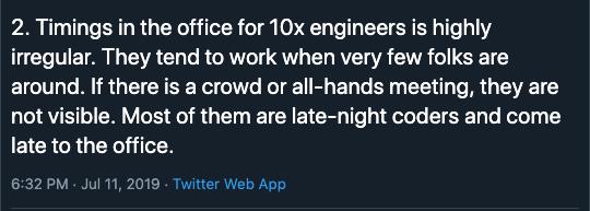 10x Engineer Irregular Office Hours