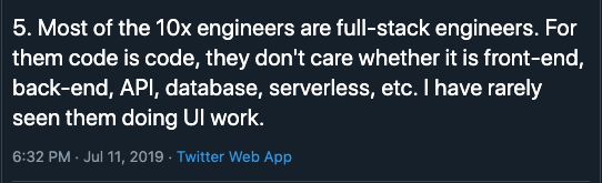 10x Engineers Are Full Stack