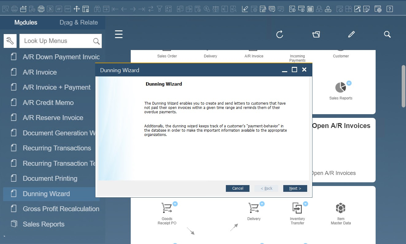 SAP B1 sales and A/R documents